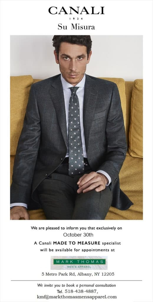 Man wearing Canali suit advertises tailoring