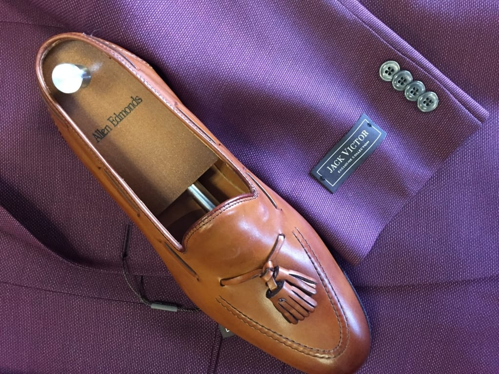 jack victor suit with allen edmonds dress shoes