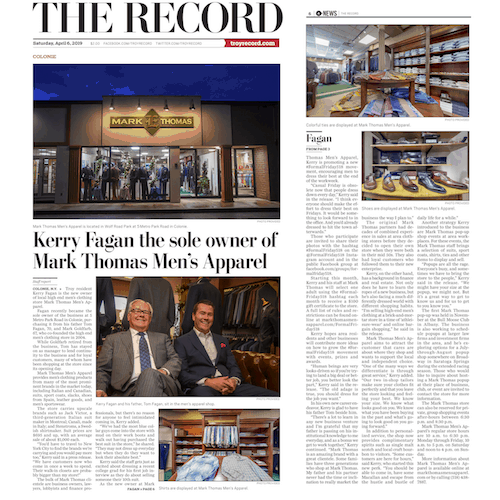 Mark Thomas Men's Apparel was mentioned in Troy's 'The Record' magazine