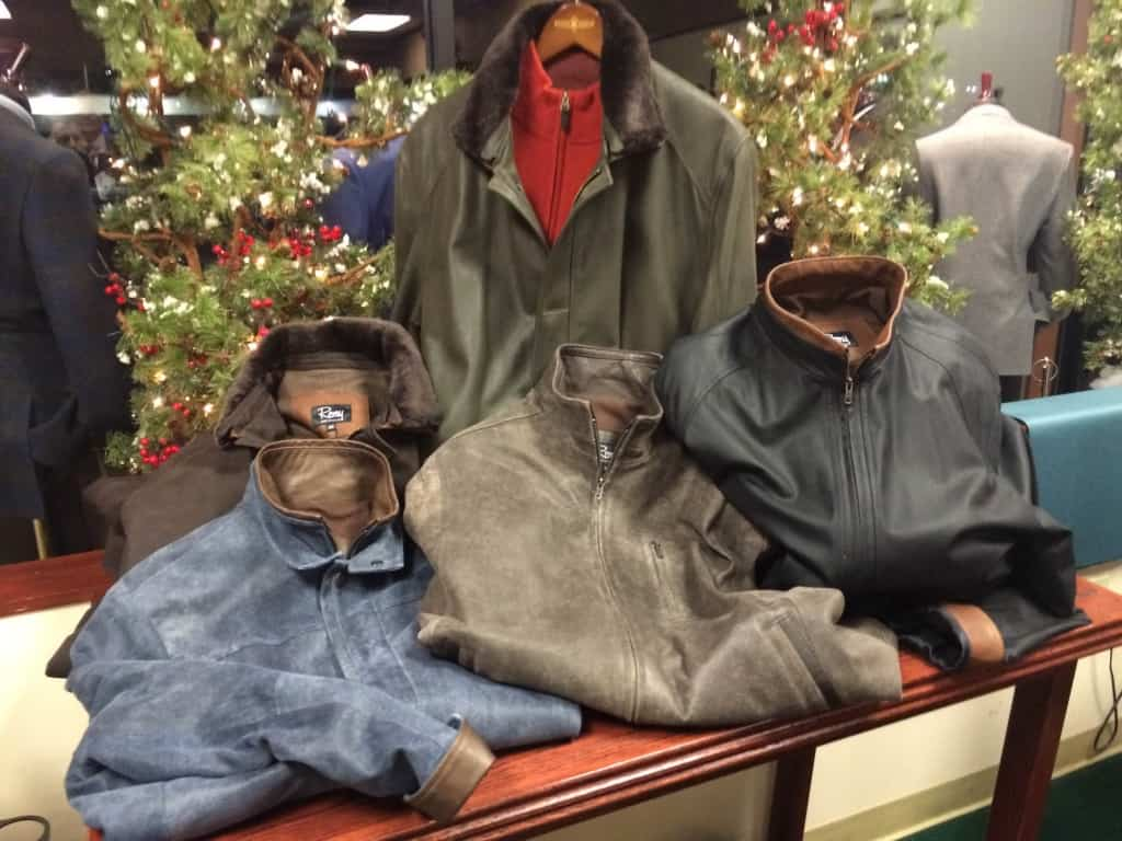 collection of leather clothing in albany store